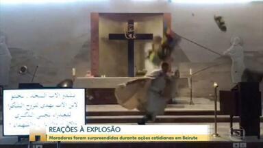 Força da explosão interrompe ensaio de noiva e derruba teto de igreja - O Jornal Hoje mostra diferentes reações de moradores sendo surpreendidos no momento da explosão.