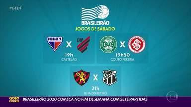 Brasileirão 2020 começa no fim de semana com sete partidas - Corinthians x Atlético-GO, Palmeiras x Vasco e Bahia x Botafogo foram adiados pela CB