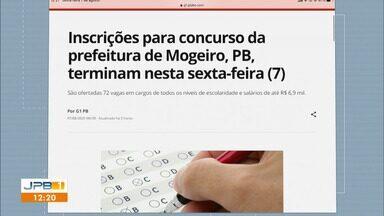Inscrições para concurso da prefeitura de Mogeiro, PB, terminam nesta sexta-feira (7) - Confira o edital.