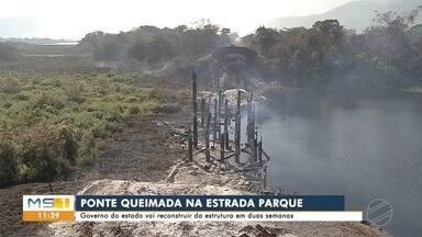Ponte queimada na estrada parque do pantanal será reconstruída - Ponte queimada na estrada parque do pantanal será reconstruída
