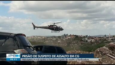 Suspeito de assalto é localizado com ajuda do Helicóptero Acauã, em Campina Grande - Ele é suspeito de assaltar uma panificadora.