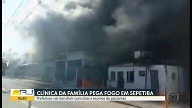 Ainda não se sabe o que provocou o incêndio na Clínica da Família de Sepetiba - O incêndio destruiu o local, nesse domingo. Os pacientes vão ser encaminhados à outras duas unidades de saúde próximas