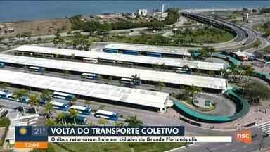 Ônibus retornaram em cidades da Grande Florianópolis nesta segunda-feira - Ônibus retornaram em cidades da Grande Florianópolis nesta segunda-feira
