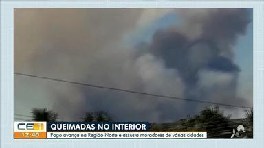 Queimadas: fogo avança na região Norte e assusta moradores - Saiba mais no g1.com.br/ce