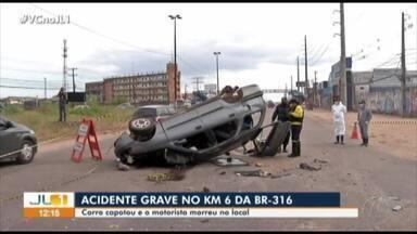Uma pessoa morre e outra fica ferida em capotamento na rodovia BR-316, em Ananindeua - Uma pessoa morre e outra fica ferida em capotamento na rodovia BR-316, em Ananindeua