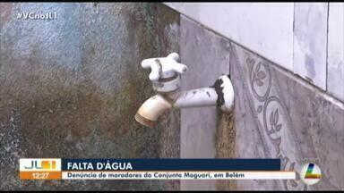 Moradores denunciam a falta constante de água no bairro Maguari, em Belém - Moradores denunciam a falta constante de água no bairro Maguari, em Belém