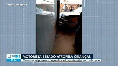 Crianças atropeladas por motorista bêbado estão internadas em Goiânia - Menino de 9 anos está internado com quadro estável e uma menina de 3 anos, internada em Anápolis.