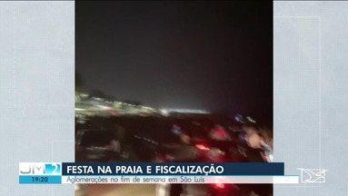 Festa reúne multidão na Praia do Meio em São Luís - Fim de semana foi de fiscalização no comércio, em bares e supermercados.