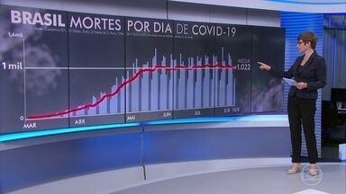 Brasil registra 721 novas mortes por Covid-19 nesta segunda (10) - Ao todo, a Covid-19 já matou 101.857 pessoas no Brasil e mais de 3,56 milhões já testaram positivo para o novo coronavírus.