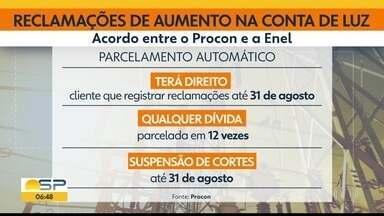 ENEL vai parcelar automaticamente faturas de quem reclamou por cobrança a mais - Débitos serão divididos em 12 vezes.