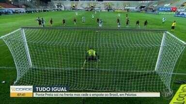 Ponte Preta sai na frente, mas cede empate em Pelotas - Bruno Rodrigues abriu o placar para a Macaca aos 15 minutos do segundo tempo, mas Lázaro, de cabeça, impediu a vitória do time campineiro aos 38.