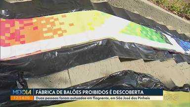 Polícia descobre fábrica de balões na Região Metropolitana de Curitiba - Duas pessoas foram autuadas em flagrante, em São José dos Pinhais.