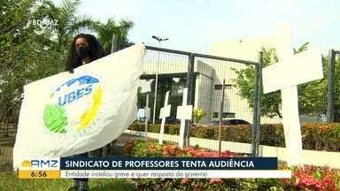 Estudantes protestam contra retorno das aulas presenciais em Manaus - Estudantes protestam contra retorno das aulas presenciais em Manaus