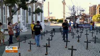 Ato simbólico em Petrolina marca 100 mil mortes no Brasil - Manifestação foi na praça Maria Auxiliadora em Petrolina