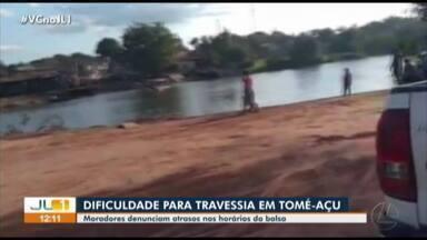 Moradores denunciam atraso da balsa para a atravessia do rio que dá acesso a Tomé-Açu - Moradores denunciam atraso da balsa para a atravessia do rio que dá acesso a Tomé-Açu