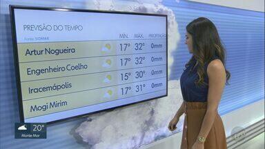 Baixa umidade do ar deixa Campinas em estado de alerta; veja a previsão desta quinta (13) - Em Campinas (SP), termômetros registram entre 15ºC e 29ºC.