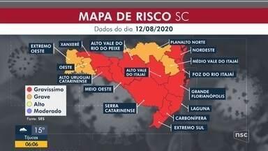 Santa Catarina volta a ter 12 regiões em risco gravíssimo para Covid-19 - Santa Catarina volta a ter 12 regiões em risco gravíssimo para Covid-19