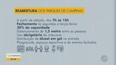 Coronavírus: parques, bosques e clubes de Campinas abrem por 6h diárias a partir de sábado - Setor volta a receber visitantes das 7h às 13h durante a fase 3 - amarela do Plano São Paulo. Atrações de uso coletivo permanecem fechadas.