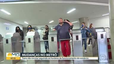 Quadro de horários do metrô vai usar mudar durante a semana e também aos sábados - Trens vão circular seguindo os horários de funcionamento do comércio.