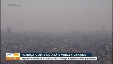 Cuiabá e Várzea Grande cobertas por fumaça - Segundo Bombeiros e Defesa Civil fumaça que cobre Cuiabá e Várzea Grande é resultado das queimadas no Estado.
