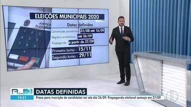 Datas do processo eleitoral de 2020 são definidas pelo TSE - Prazo para inscrição de candidatos vai até dia 26/09, e a propaganda eleitoral começa em 27/09.