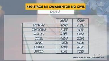 Número de casamentos no civil volta a crescer no Paraná - Apesar do aumento, são quase 8 mil oficializações a menos do que no ano passado.