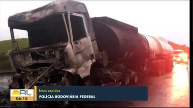 Carreta explode na BR-101, em Novo Lino - Acidente ocorreu na madrugada de domingo.