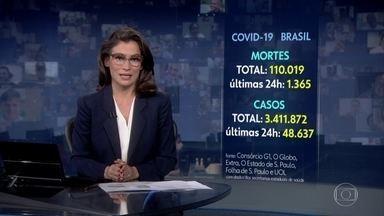 Brasil ultrapassa 110 mil mortes pela Covid - Número de infectados no país já passa dos 3,4 milhões.