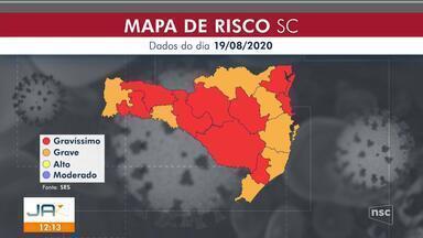 Nove regiões de SC estão em risco gravíssimo e sete em risco grave de contágio - Nove regiões de SC estão em risco gravíssimo e sete em risco grave de contágio