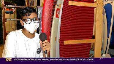 Após superar câncer na perna e ser amputado, Juan quer ser surfista profissional - Saiba mais em ge.globo/ce