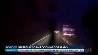 Contrabandistas fazem manobras perigosas durante perseguições em rodovias - Situação tem se tornado cada vez mais comum no Paraná.