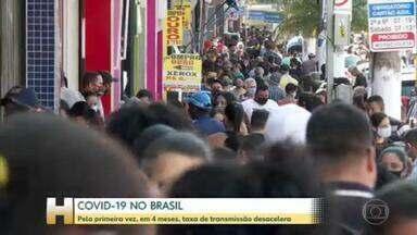 Brasil mostra desaceleração na transmissão da Covid pela 1ª vez desde abril - Índice que mostra quantas pessoas em média um paciente infectado atinge com a doença está abaixo de zero, de acordo com relatório semanal da Imperial College.