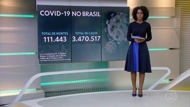Brasil tem 111,4 mil mortes e mais de 3,4 milhões de casos de Covid - O Brasil tem 111.443 mortes por coronavírus confirmadas até as 13h desta quinta-feira (20), segundo levantamento do consórcio de veículos de imprensa a partir de dados das secretarias estaduais de Saúde.