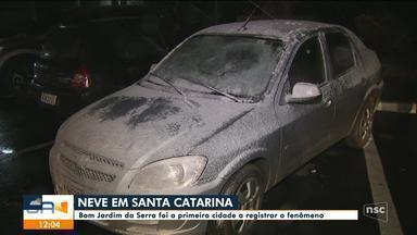 Neve em SC: Bom Jardim da Serra foi a primeira cidade a registrar o fenômeno - Neve em SC: Bom Jardim da Serra foi a primeira cidade a registrar o fenômeno