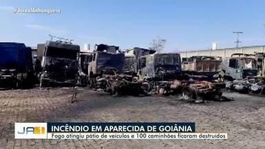Incêndio em mata avança e destrói 100 caminhões em empresa, em Aparecida de Goiânia - Empresa preferiu não comentar sobre o caso.
