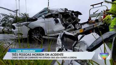 Três morrem após carro bater na traseira de caminhão na estrada velha Guará-Lorena - Confira os detalhes.