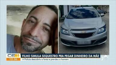 Filho simula sequestro para pegar dinheiro da mãe e é preso pela polícia - Saiba mais em g1.com.br/ce