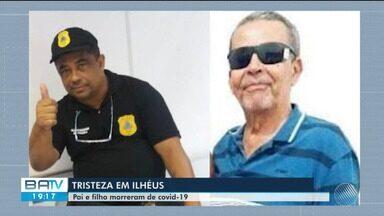 Pai de policial civil que morreu por Covid-19 morre horas depois vítima da doença no sul - .Policiais, familiares e amigos fizeram uma homenagem às vítimas na manhã desta sexta-feira (21).