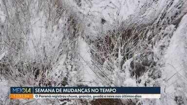 Nevou em Curitiba fechando uma semana de muitas mudanças - O Paraná registrou chuva, granizo, geada e neve nos últimos dias