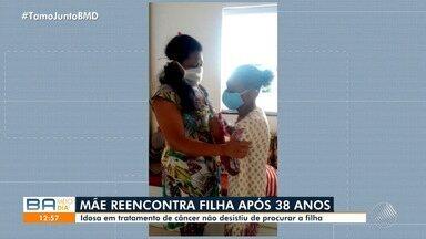 Mãe e filha se reencontram após 38 anos, com ajuda do quadro de Desaparecidos da TV Bahia - Reportagem foi exibida na edição de quarta-feira (26) e no mesmo dia o caso foi resolvido.