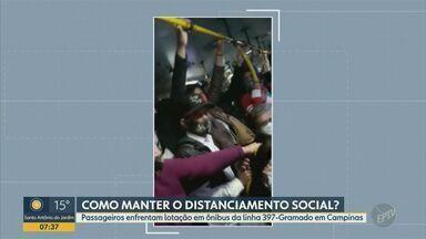 Passageira registra lotação em ônibus da linha 397, em Campinas - Com o acúmulo de pessoas, aglomeração foi formada no veículo na manhã desta terça-feira (1º). Coletivo faz o trajeto entre o Centro e o bairro Gramado.