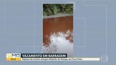 Rejeitos de minério atingem Ribeirão do Mango, em Ouro Preto - De acordo com a Fundação Estadual do Meio Ambiente (Feam), na última sexta-feira (28) houve um vazamento na barragem dos Alemães, que pertence à Gerdau. O problema foi corrigido no mesmo dia. As causas do vazamento estão sendo investigadas.