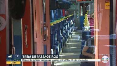 Depois de 5 meses suspensas, viagens de trem entre Minas e Espírito Santo são retomadas - Novos procedimentos serão adotados durante a compra de passagens, embarque e viagem para garantir a saúde e a segurança de passageiros e empregados.