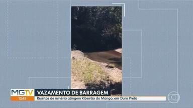 Vazamento de rejeitos de barragem da Gerdau atinge ribeirão em distrito de Ouro Preto - Segundo a empresa, o vazamento foi corrigido menos de duas horas após o evento.