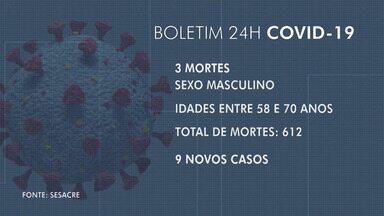 Acre confirma mais três mortes por Covid-19 até esta segunda (31) - Acre confirma mais três mortes por Covid-19 até esta segunda (31)