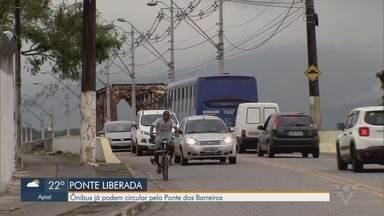 Justiça libera passagem de ônibus pela Ponte dos Barreiros, em São Vicente - Após laudo favorável à passagem de veículos pesados, Justiça liberou tráfego de ônibus e caminhões dos bombeiros.