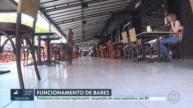 Prefeitura define regras para ocupação de ruas e passeios por bares, em BH - Bares e restaurantes vão ampliar horário de funcionamento e poderão vendar bebidas alcoólicas, a partir de sexta (4).