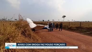 Avião com droga faz pouso forçado em Cacoal - Suspeitos abandonaram a droga e roubaram um carro para fugir