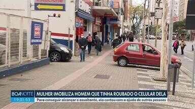 Mulher reage a assalto e imobiliza o ladrão - Caso aconteceu no centro de Curitiba.