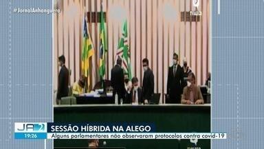 Protocolos da Covid-19 não são seguidos em sessão na Alego - Parte dos parlamentares estiveram presencialmente.